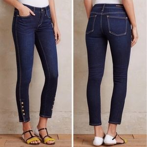 Pilcro Skinny Jeans with Gold Snap Ankle Buttons